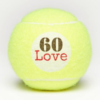 Tennis 60th Birthday  tennis ball and number love