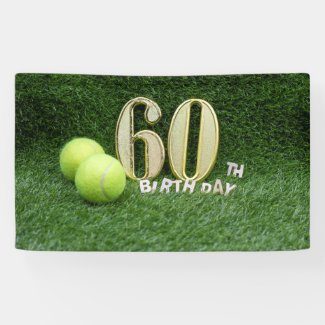 Tennis 60th Birthday with number sixty and balls Banner