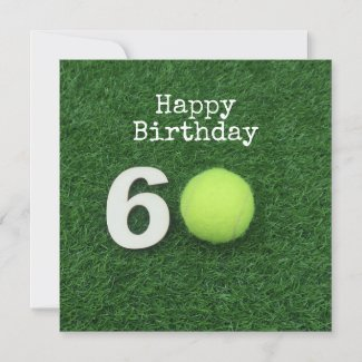 Tennis 60th Birthday with tennis ball and number Card