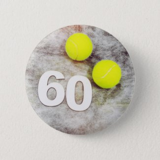 Tennis 60th Birthday with tennis balls Button