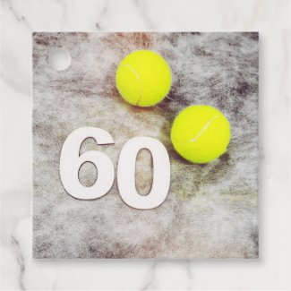 Tennis 60th Birthday with tennis balls greeting Favor Tags