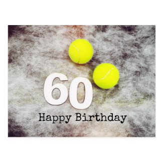 Tennis 60th Birthday with tennis balls Postcard