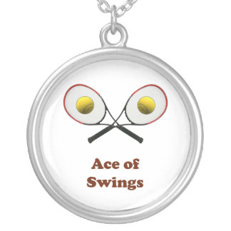 Tennis Ace of Swings Round Pendant Necklace