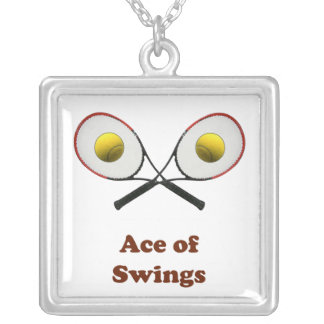 Tennis Ace of Swings Square Pendant Necklace