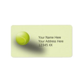 Tennis address labels, green. Tennis ball, sport.
