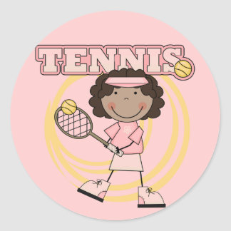 TENNIS - African American Girl T shirts and Gifts Classic Round Sticker