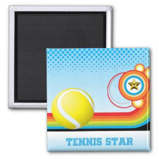 Tennis and Rainbow Stripe TENNIS Star Magnet