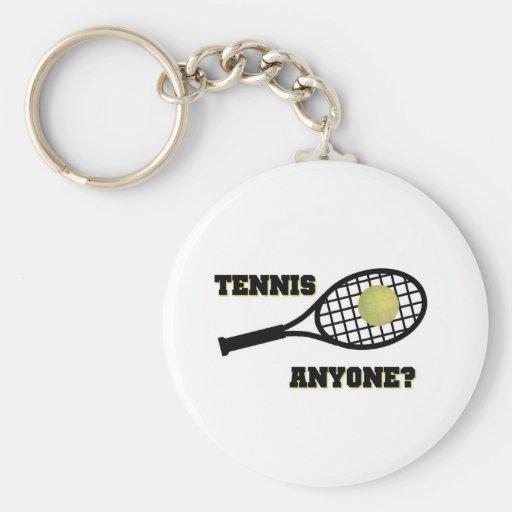 Tennis Anyone? Basic Round Button Keychain