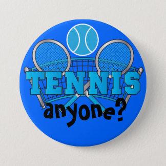 Tennis Anyone? | Blue Pinback Button
