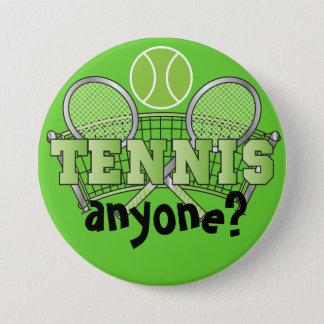 Tennis Anyone? | Green Pinback Button