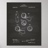 Tennis Ball 1914 Patent Art Chalkboard Poster
