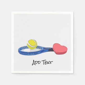 Tennis ball and blue racket on white background napkins