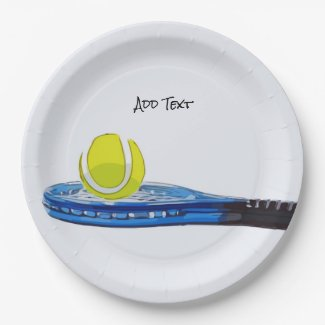 Tennis ball and blue racket on white background paper plate