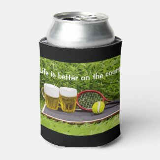 Tennis ball and glass of beer watercolor on green can cooler