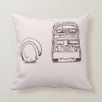 Tennis ball and London bus sketch design Throw Pillow