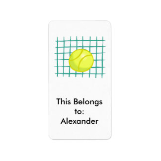 tennis ball and net simple graphic label