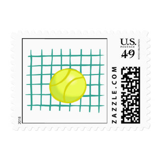 tennis ball and net simple graphic postage stamp