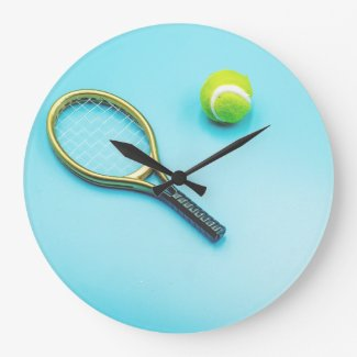 Tennis ball and racket are on blue background large clock