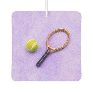 Tennis ball and racket are on purple background air freshener