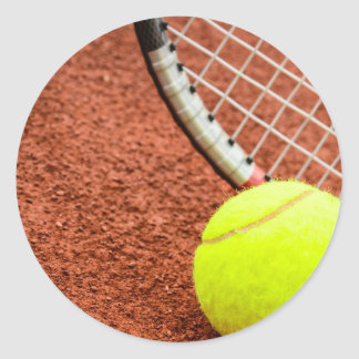 Tennis Ball and Racket Closeup Classic Round Sticker