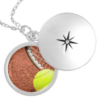 Tennis Ball and Racket Closeup Round Locket Necklace