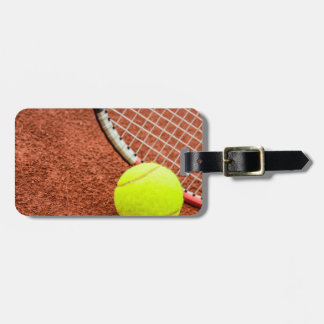 Tennis Ball and Racket Closeup Tag For Luggage