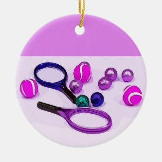 Tennis ball and racket in pink and purple ceramic ornament