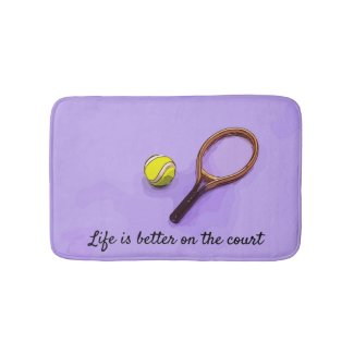 Tennis ball and racket life is better on the court bath mat
