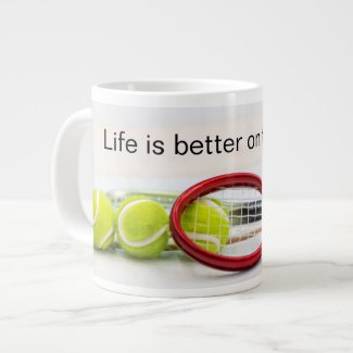 Tennis ball and racket life is better on the court giant coffee mug