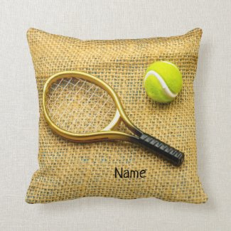 Tennis ball and racket on brown background throw pillow