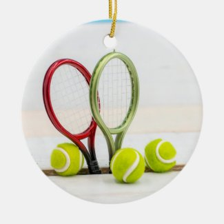 Tennis ball and racket on white background ceramic ornament
