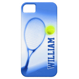 Tennis ball and racket sports blue iphone 5 case