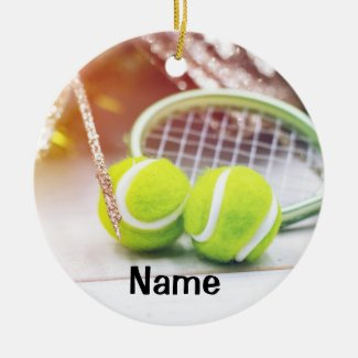 Tennis ball and racket with Christmas decoration