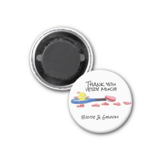 Tennis ball and racket with love wedding magnet