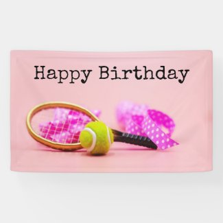Tennis ball and racket with pink ribbon birthday banner