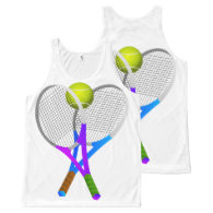 Tennis Ball and Rackets All-Over Print Tank Top