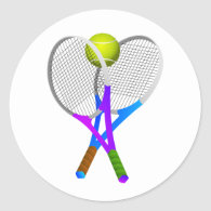 Tennis Ball and Rackets Classic Round Sticker