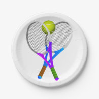 Tennis Ball and Rackets Paper Plate
