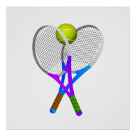 Tennis Ball and Rackets Poster
