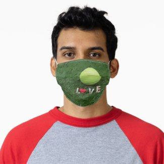 Tennis ball and red heart with love watercolor adult cloth face mask