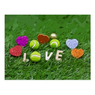 Tennis ball and red heart with love watercolor postcard
