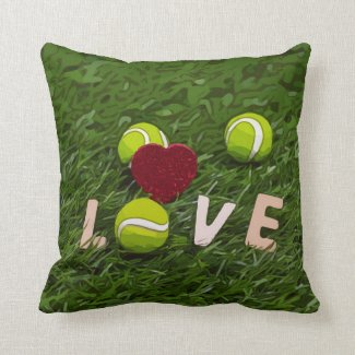 Tennis ball and red heart with love watercolor throw pillow