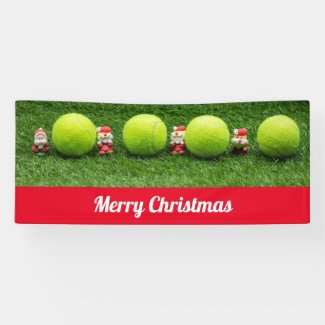 Tennis  ball and Santa Claus Christmas Holiday Banner