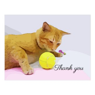 Tennis ball and yellow cat Thank You Card
