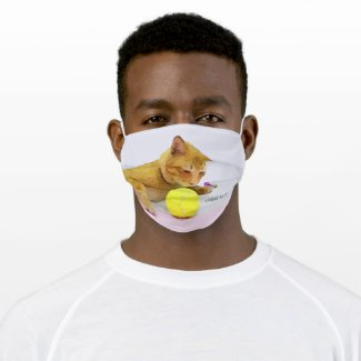 Tennis ball and yellow tubby cat cloth face mask