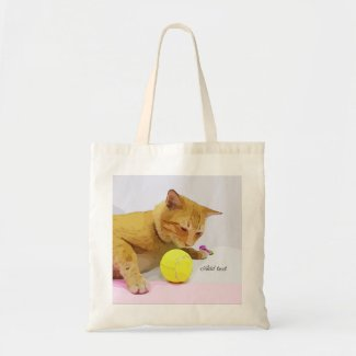 Tennis ball and yellow tubby cat tote bag