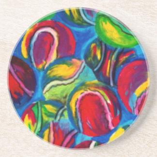 Tennis ball artwork beverage coasters