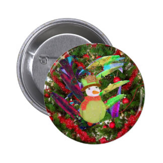 Tennis ball as ornament in Christmas tree Pinback Button