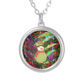 Tennis ball as ornament in Christmas tree Silver Plated Necklace