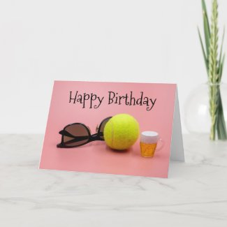 Tennis ball birthday with racket  and beer on pink card